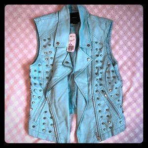 Studded mint colored faux leather zip up vest